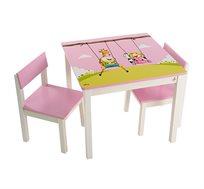 """סט שולחן ושני כסאות בשילוב עץ מלא עם איור צבעוני של המאייר """"גיאצ'וק"""", מצופה לכה"""
