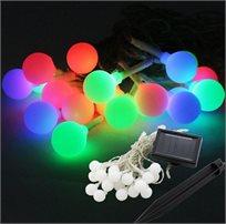 מכניסים צבע לגינה! שרשרת תאורה סולארית באורך 8 מטר בעלת 20 נורות צבעוניות גדולות בצורת כדורים