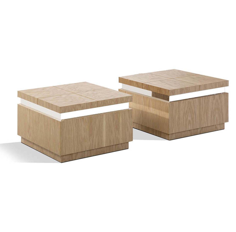 זוג שולחנות מרובעים לסלון מעוצבים בסגנון מודרני במראה עץ טבעי דגם פורסט LEONARDO - תמונה 3