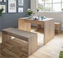 פינת אוכל כוללת שולחן ושני ספסלים דגם BERLIN בשני גוונים לבחירה BRADEX