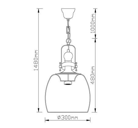 מנורת תליה ברקלי ביתילי בעלת גוף תאורה העשוי זכוכית בגימור קוניאק בשילוב בית נורה מתכתי בציפוי פליז - משלוח חינם - תמונה 2