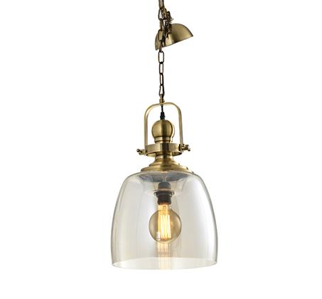 מנורת תליה ברקלי בציפוי פליז ביתילי