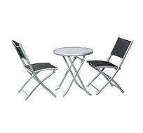 שולחן עם 2 כסאות מתקפלים לאירוח במרפסת ובגינה