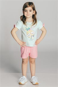 חליפת טריקו בהדפס דמות אננס בשילוב פפיון על כל שרוול לבנות Kiwi בצבע מנטה/ורוד