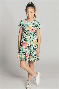 שמלת טריקו לילדות - לבן/צבעוני