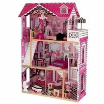 בית בובות ענק 3 קומות, 4 חדרים Amelia עם מרפסת ומעלית כולל 13 פריטי ריהוט