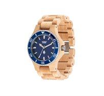 שעון עץ איטלקי Date MB Beige Blue