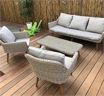 מערכת ישיבה מראטן לגינה הכוללת ספה תלת מושבית דגם AMSTERDAM