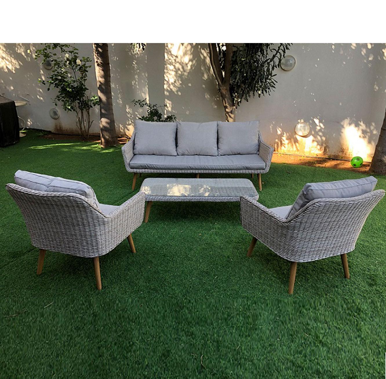 מערכת ישיבה לגינה או למרפסת הכוללת ספה תלת מושבית עשויה ראטן עם שלדת אלומיניום - תמונה 3