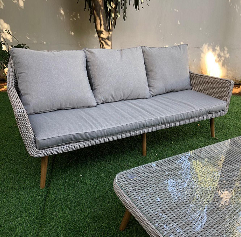 מערכת ישיבה לגינה או למרפסת הכוללת ספה תלת מושבית עשויה ראטן עם שלדת אלומיניום - תמונה 2