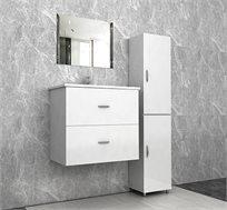 סט ארונות אמבטיה הכולל מראה וארוניות אחסון עם מגירות