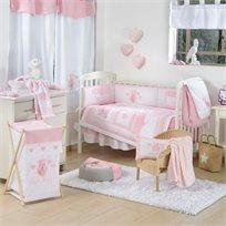 סט מצעים 3 חלקים למיטת תינוק 100% כותנה - דובי לבבות