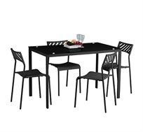 סט פינת אוכל הכולל שולחן בעל משטח זכוכית ו-4 כיסאות