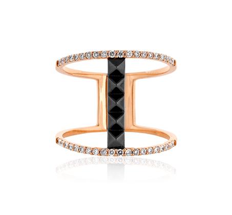 טבעת מקולקציית טבעות האופנה משובצת יהלומים במשקל כולל של 0.27 נקודות
