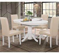 פינת אוכל עגולה נפתחת מעץ מלא משולב כוללת שולחן ו-4 כסאות HOME DECOR