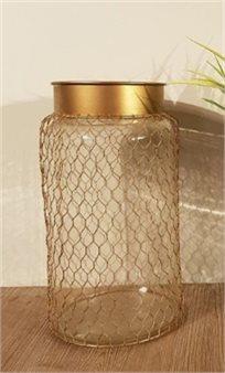 אגרטלי זכוכית ורשת מעוצבת זהב גובה 30 ס''מ 156400