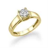 טבעת אירוסין סוליטר זהב צהוב קארין 0.70 קראט בשיבוץ סוליטר ייחודי