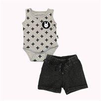 ORO חליפת בגד גוף (18 חודשים - 2 שנים) - איקסים אפור