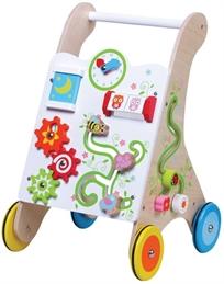 הליכון פעילות לתינוק מעץ עם פעלולון מרהיב