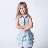Us Polo יו אס פולו (10-3שנים) שמלת ג'ינס - כחול בהיר