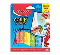 6 טושי חלון צבעוניים + מטלית מתנה MAPED