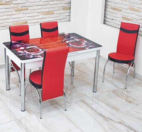 פינת אוכל נפתחת מזכוכית כולל 4 כסאות מרופדים תואמים