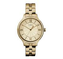 שעון יד TIMEX לנשים מוזהב בעיצוב קלאסי עם ספרות רומיות
