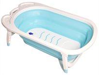 אמבטיה מתקפלת לתינוק עם רגלים מתקפלות ומונע החלקה - לבן/תכלת