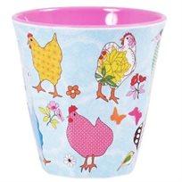 כוס מלמין טוטון עם הדפס תרנגולת - Rice
