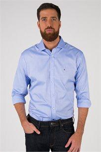 חולצה מכופתרת עם צווארון פתוח ללא כפתורים Tommy Hilfiger לגברים בצבע תכלת