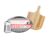 """מגש אפייה לפיצה Rosopro, קרש עץ ופומפייה מסדרת """"מותק של כלים"""""""