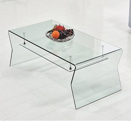 מגניב שולחן קפה סלוני עשוי זכוכית מחוסמת עם מדף תחתון מרחף מזכוכית XN-12