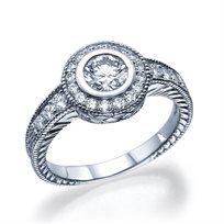 טבעת אירוסין וינטג' יוקרתית בשיבוץ יהלומים 0.81 קראט