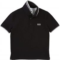BOSS בוס (14-4 שנים) חולצת פולו כיתוב בצאוורון - שחור