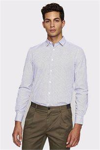 חולצה מכופתרת מודפסת לגבר DEVRED - לבן