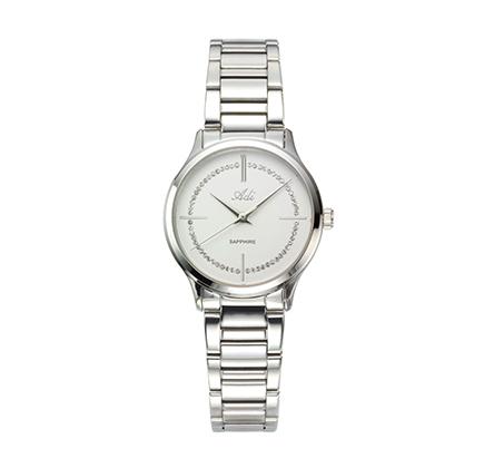 שעון יוקרתי מעוטר אבני סברובסקי לנשים עם זכוכית ספיר - כסוף