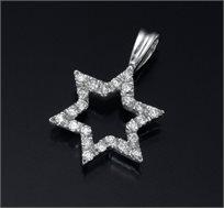 תליון מגן דוד זהב 14K משובץ יהלומים במשקל 0.14 נקודות - משלוח חינם!