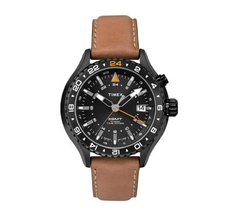 שעון GMT לגברים עשוי פלדת אל חלד מושחרת