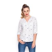 חולצת Capri לבנה עם ציפורים
