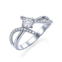 """טבעת אירוסין זהב לבן """"מייגן"""" 0.72 קראט יהלומים"""