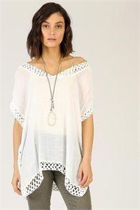 חולצה חוף - לבנה -