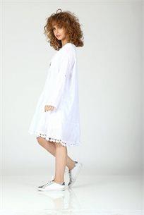 שמלה בעיטור קרושה לבן - CUBiCA