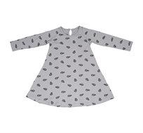 שמלת ג'רזי מודפסת ומסתובבת קלות - אפור עם בבושקות