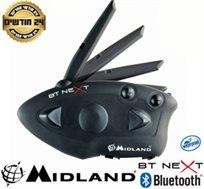 """דיבורית Bluetooth A2DP לאופנועים, רדיו FM מובנה שיחות אינטרקום ל-6 רוכבים עד 1.6 ק""""מ MIDLAND BT Next"""