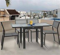 פינת אוכל לאירוח בחוץ Australia Camp כולל 4 כיסאות ושולחן זכוכית