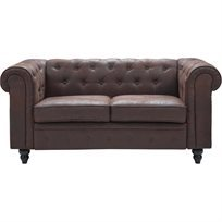 Chesterfield ספה דו מושבית - חום - משלוח חינם
