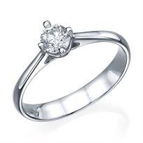 """טבעת אירוסין """"מדלן"""" 0.35 קראט זהב לבן"""