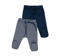 מארז זוג מכנסיים לתינוקות בצבע פסים בלבן עם כחול נייבי, כחול נייבי מודפס מיננה