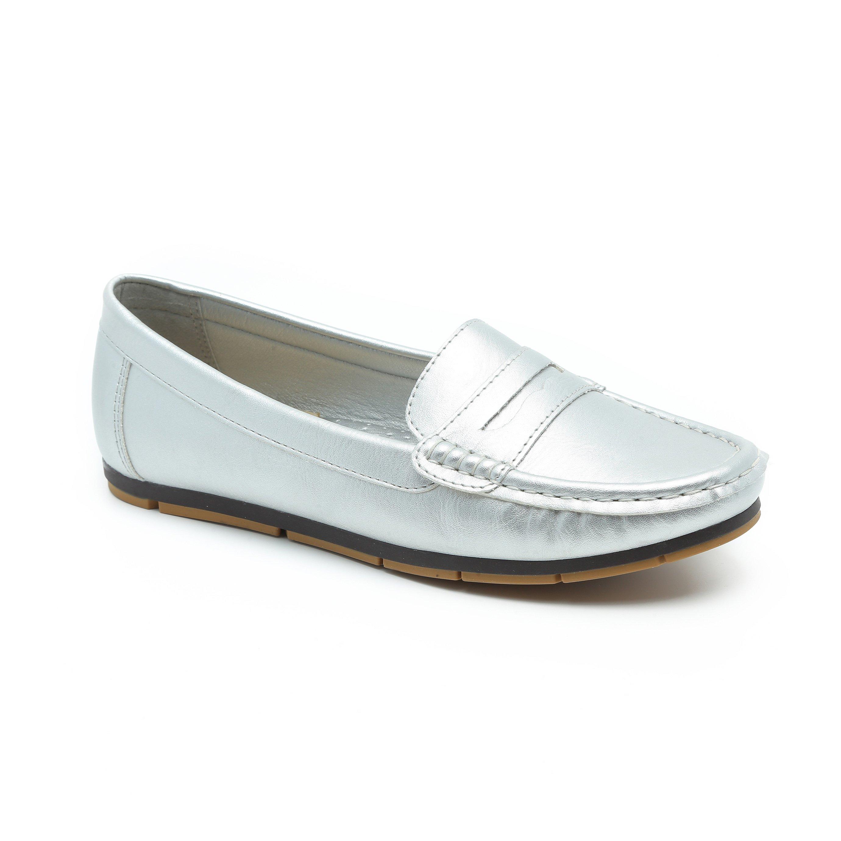 Seventy Nine - נעלי מוקסין במראה רטרו בצבע אפור בהיר