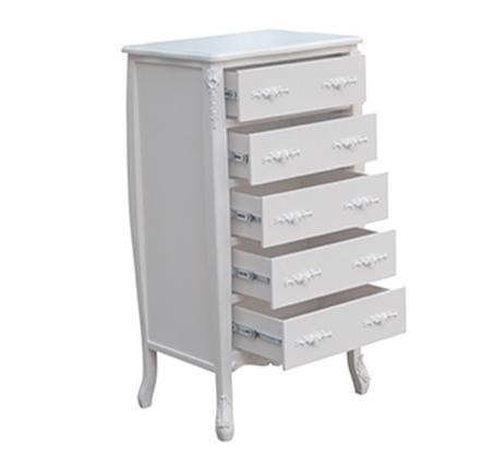 קומודה וינטג' ענקית לאחסון רב בעלת 5 מגירות בצבע לבן או שמנת לבחירה - משלוח חינם - תמונה 3